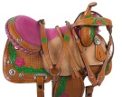 Rough Out Pink Green Floral Barrel Racing Saddle 15 [9507]
