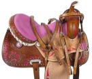 Pink Crystal Inlay Barrel Racing Horse Saddle Tack 17 [9508]