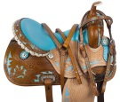Blue Crystal Inlay Barrel Racing Western Horse Saddle 14 16 [9510]