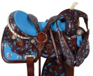 Blue Inlay Dark Brown Barrel Racing Horse Saddle 16 [9514] (Out Of Stock)