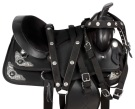 Dura Leather Black Western Silver Horse Saddle Tack 16 18[9519]