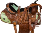 Turquoise Star Barrel Saddle Western Leather Horse 14 16 [9555]