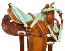Turquoise Ostrich Seat Western Barrel Racer Saddle Tack 17 [9576] (Out Of Stock)