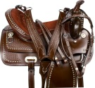 Silver Studded Brown Western Show Parade Horse Saddle 16 18 [9605]