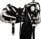 Black Silver Show Western Pleasure Horse Saddle Tack 17 [9623]