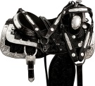 Black Floral Silver Show Western Horse Saddle Tack 18 [9624] (Out Of Stock)
