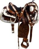 Dark Brown Silver Show Western Horse Saddle Tack 16 17 [9625]