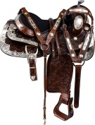 Dark Brown Floral Silver Show Western Horse Saddle Tack 16 [9626] (Out Of Stock)