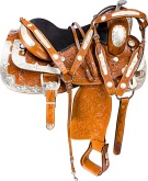 Hand Carved Silver Western Show Horse Saddle Tack 16 [9627]