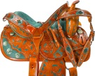 Hand Painted Green Barrel Racer Western Horse Saddle 16 [9658]