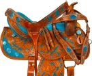 Hand Painted Turquoise Inlay Barrel Western Saddle 16 [9659]