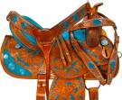 Hand Painted Turquoise Inlay Barrel Western Saddle 16[9659]