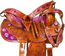 Hand Painted Purple Barrel Western Horse Saddle 16 [9660] (Out Of Stock)