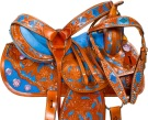 Hand Painted Blue Inlay Barrel Racing Western Saddle 16 [9661]