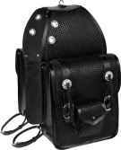 Extra Large Black Basket Weave All Leather Horse Saddle Bags [9671] (Out Of Stock)