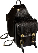Extra Large Black Carved Western Leather Horse Saddle Bags [9674] (Out Of Stock)