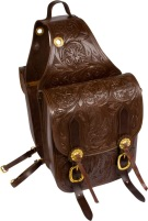 Large Leather Hand Carved Brown Horse Saddle Bags [9676] (Out Of Stock)