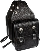 Hand Carved Large Black Leather Western Saddle Bags [9678] (Out Of Stock)