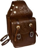 Large All Leather Hand Carved Brown Saddle Bags [9679] (Out Of Stock)