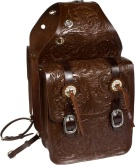 Large Hand Carved Dark Brown Leather Western Saddle Bags [9681]