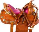 Pink Crystal Barrel Racer Western Horse Saddle Tack 16[9720]