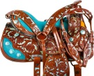 Blue Inlay Crystal Brown Barrel Racer Western Horse Saddle [9722] (Out Of Stock)