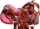 Pink Inlay Crystal Brown Barrel Western Horse Saddle 16[9724]