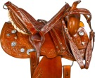 Hand Carved Studded Barrel Racer Western Horse Saddle 14 16 [9725]