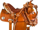 Crystal Tooled Barrel Racing Western Horse Saddle 14 16 [9726]