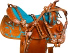 Turquoise Tan Barrel Racer Western Horse Saddle 15 16 [9727]