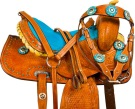 Turquoise Crystal Mini Horse Youth Kids Western Saddle 9[9731M] (Out Of Stock)