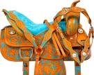 Turquoise Western Trail Barrel Show Horse Saddle Tack 14 16[9746]