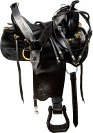 Amazingly Comfortable Black Western Trail Horse Saddle Tack [9753]