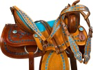 Blue Western Barrel Trail Show Horse Leather Saddle Tack 16 [9754]