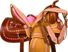 Pink Western Barrel Trail Show Horse Leather Saddle Tack 16 [9755]