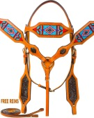 Beaded Western Headstall Bridle Breast Collar Horse Tack Set [9756]