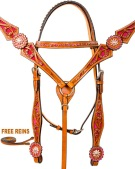 Pink Crystal Western Horse Bridle Breast Collar Tack Set [9760]