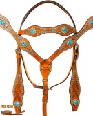 Blue Crystal Bling Western Bridle Headstall Reins Tack Set [9761]