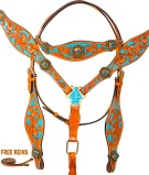 Turquoise Crystal Concho Western Horse Headstall Tack Set [9762] (Out Of Stock)