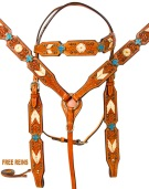 Blue Cross Headstall Reins Breast Collar Western Horse Tack Set [9763]