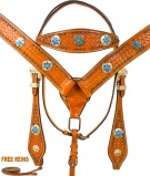 Blue Star Conchos Bridle Breast Collar Western Horse Tack Set [9767]
