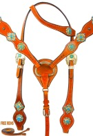 Turquoise Crystal One Eared Headstall Western Horse Tack Set [9768]