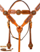 Brown Gator Headstall Breast Collar Reins Western Horse Tack [9771]