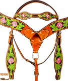 Hand Painted Pink Floral Breast Collar Western Horse Tack Set [9772]