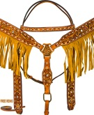 Hand Tooled Fringe Breast Collar Western Horse Bridle Tack Set [9773]