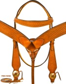 Basket Weave Chestnut Tan Bridle Reins Western Horse Tack Set[9790]