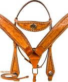 Zebra Leather Studded Breast Collar Bridle Western Horse Tack[9793]