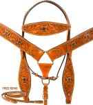 Studded Cross Headstall Breast Collar Western Horse Tack Set [9795]