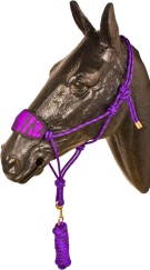 Purple Black Bronc Nose Horse Rope Halter With Lead Rope