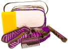 Six Piece Purple Zebra Crystal Bling Horse Grooming Kit
